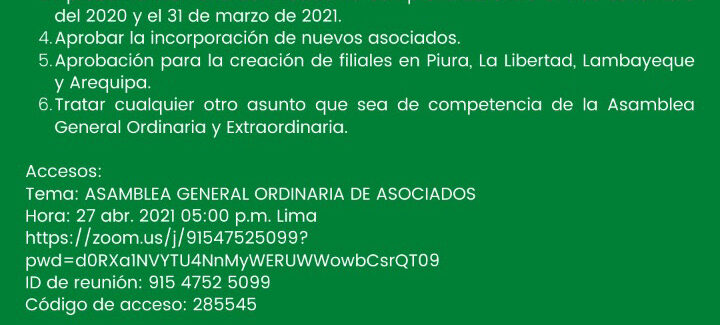 CONVOCATORIA ASAMBLEA GENERAL ORDINARIA DE ASOCIADOS